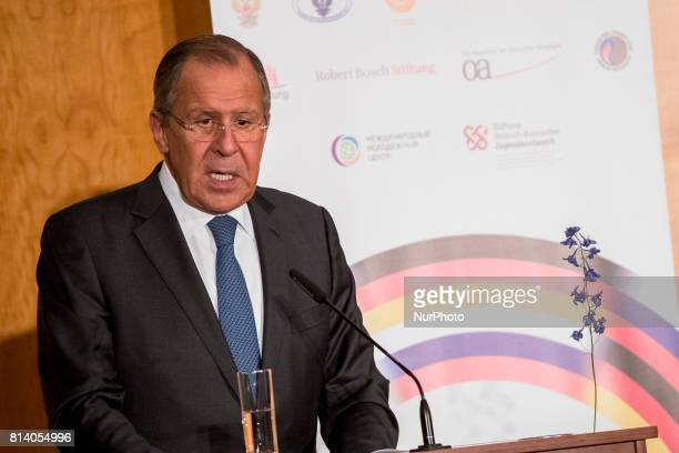 Russian Foreign Minister Sergey Lavrov speaks during an event for the end of the 'GermanRussian Youth Exchange Year 2016/17' at the Foreign Ministry...