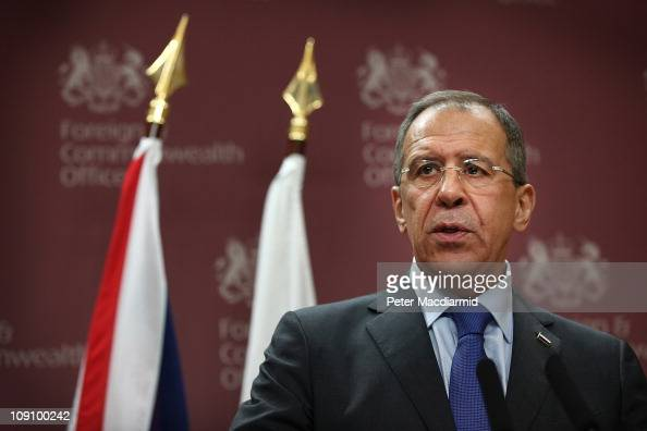 Russian Foreign Minister Sergey Lavrov talks to reporters at the Foreign and Commonwealth Office on February 15 2011 in London England Mr Lavrov is...