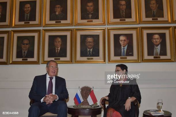 Russian Foreign Minister Sergey Lavrov talks with his Indonesian counterpart Retno Marsudi prior to their meeting in Jakarta on August 9 2017...