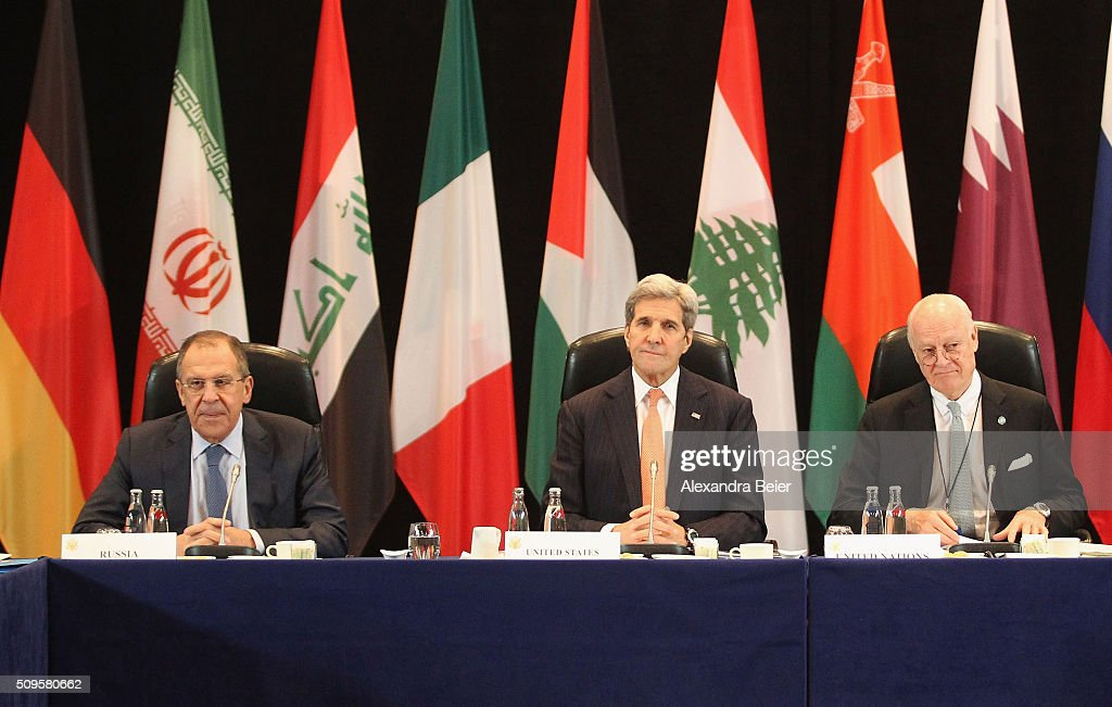 Russian foreign minister Sergey Lavrov, US foreign secretary <a gi-track='captionPersonalityLinkClicked' href=/galleries/search?phrase=John+Kerry&family=editorial&specificpeople=154885 ng-click='$event.stopPropagation()'>John Kerry</a> and UN special envoy on Syria Staffan de Mistura are pictured during a meeting of the International Syrian Support Group (ISSG) ahead of the International Munich Security Conference on February 11, 2016 in Munich, Germany. ISSG met in Munich to further discuss a peaceful solution in the Syria war.