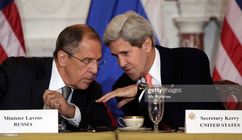 Russian Foreign Minister Sergey V. Lavrov (L) talks with U.S. Secretary of State John Kerry during a meeting at the U.S. State Department on August 9, 2013 in Washington, DC. According to reports the meeting could help determine the fate of a planned summit meeting in September between U.S. President Barack Obama and Russian President Vladimir V. Putin.