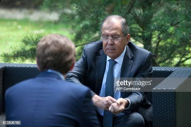 Russian Foreign Minister Sergey Viktorovich Lavrov talks with Austrian Foreign Minister Sebastian Kurz during the OSCEmeeting 'Building Trust through...