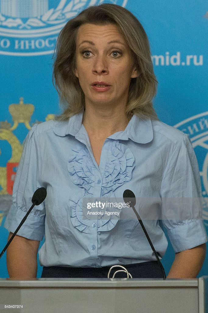 Russian Foreign Ministry's Spokesperson Maria Zakharova speaks during a press conference at Russian Foreign Ministry building in Moscow, Russia on June 28, 2016.