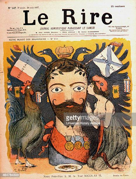 Russian foreign policy France in the guise of her mascots Chanticleer the cockerel and Madeleine making advances to 'Nicholas II Tsar of Russia from...