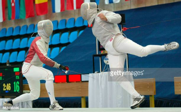 Russian fourtime Olympic champion Stanislav Pozdniakov fights with Italian Luigi Tarantino during the final team match of Fencing Euro Champion in...