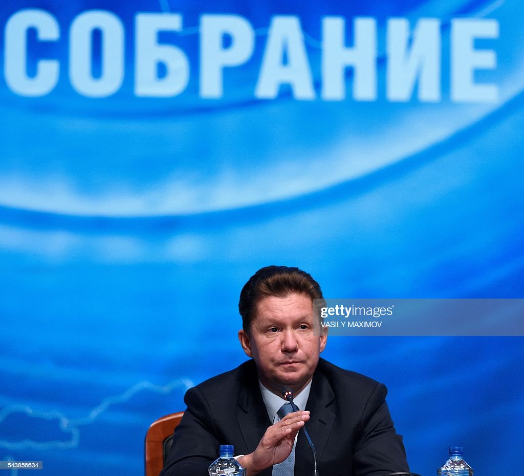 Russian gas giant Gazprom's Chief Executive Officer (CEO) Alexei Miller attends a press conference after the annual meeting of the company's shareholders in Moscow on June 30, 2016. / AFP / VASILY