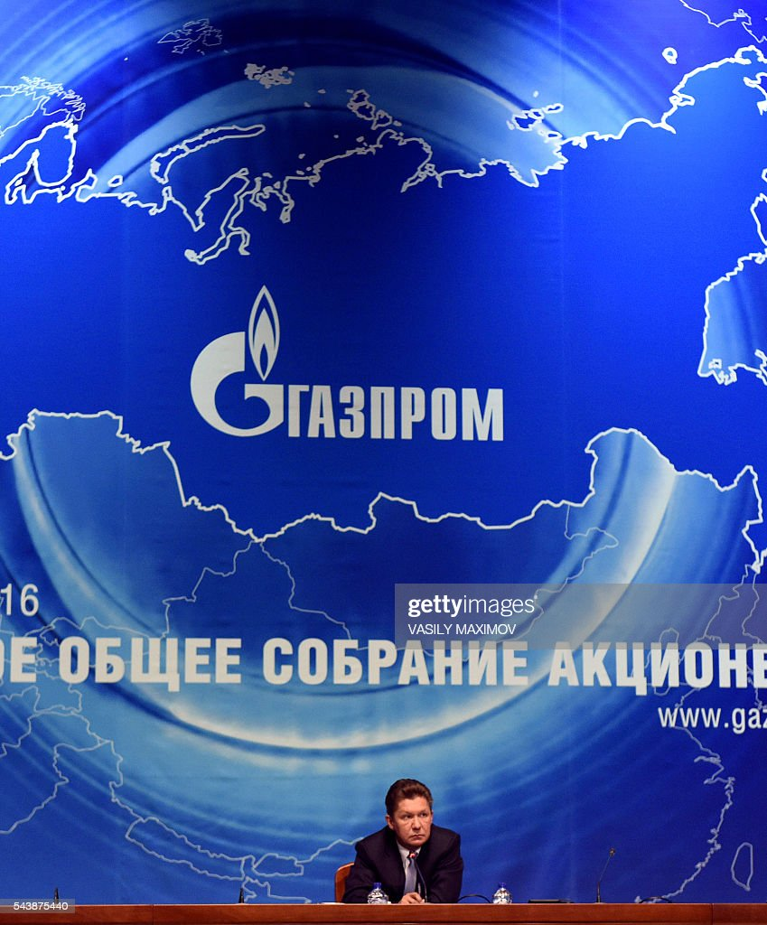 Russian gas giant Gazprom's Chief Executive Officer (CEO) Alexei Miller gives a press conference after the annual meeting of the company's shareholders in Moscow on June 30, 2016. / AFP / VASILY