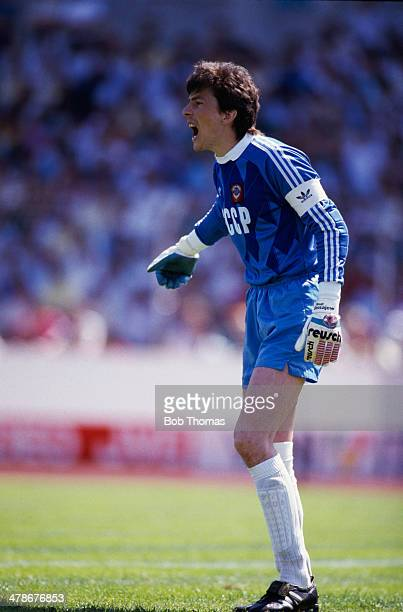 Russian goalkeeper Rinat Dasayev playing for the Soviet national team against England in a UEFA European Football Championship match at the...