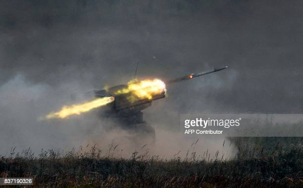 A Russian 'Grad' multiple rocket launcher system fires in Kubinka Patriot Park outside Moscow on August 22 2017 during the first day of the 'Army...