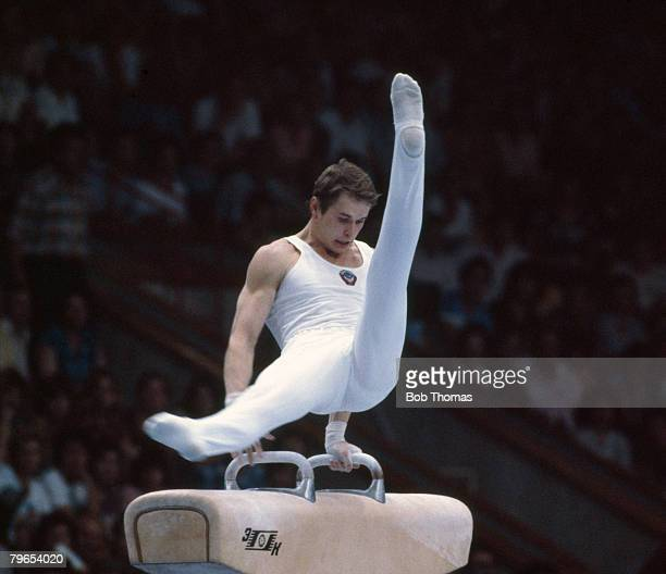 Russian gymnast Alexander Dityatin pictured in action on the pommel horse during the final of the men's artistic individual allaround competition at...
