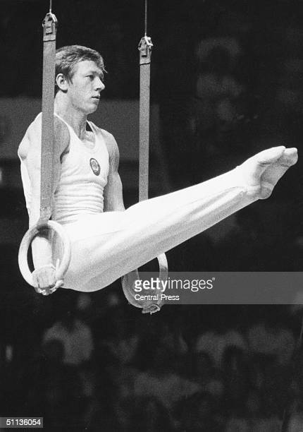 Russian gymnast Nikolai Andrianov in action on the rings during the Montreal Olympics July 1976