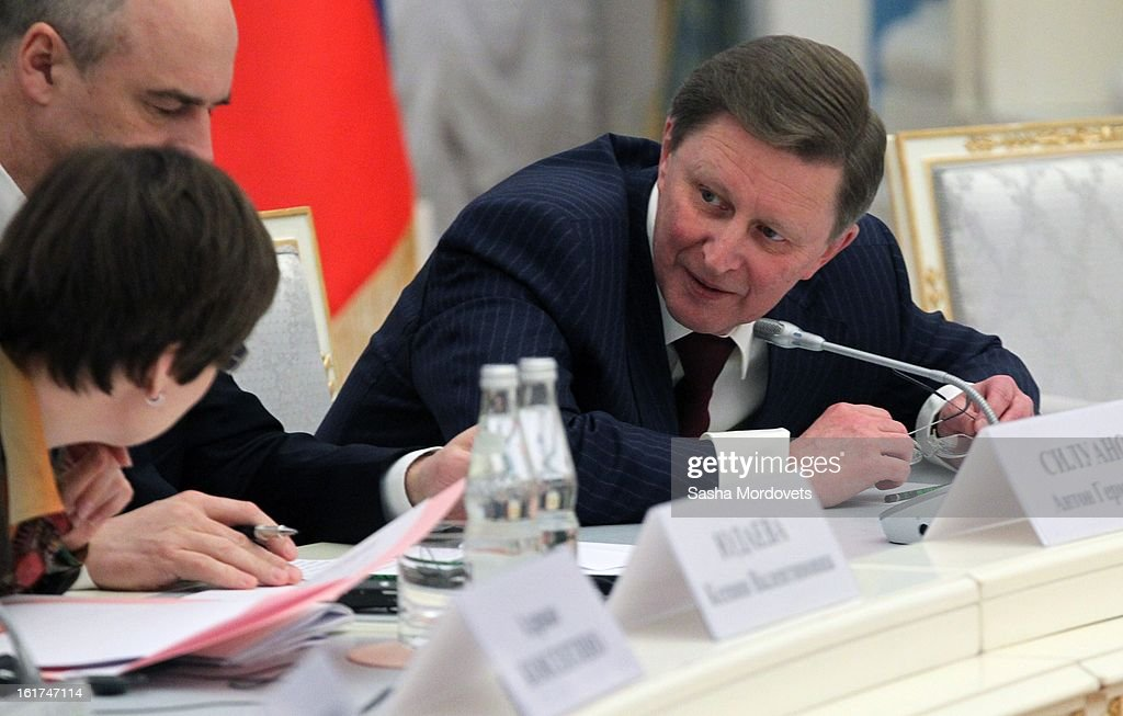 Russian Head of the Presidential Administration Sergey Ivanov (R) looks on during a meeting with G20 finance leaders in the Kremlin February 15, 2013 in Moscow, Russia. The G20 countries, that make up 90 percent of the worlds gross domestic product, is reportedly set to be dominated by the issue of counties using their currency fro economic gain over the weekend of meetings.