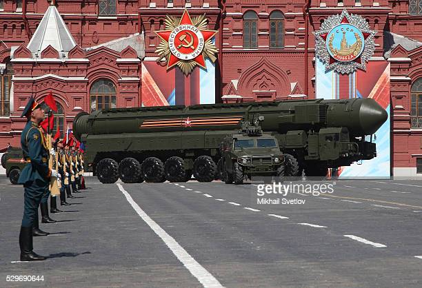 Russian ICBM military missiles launcher seen during the Victory Day Parade at Red Square May 9 2016 in Moscow Russia Russia marks the 71st...