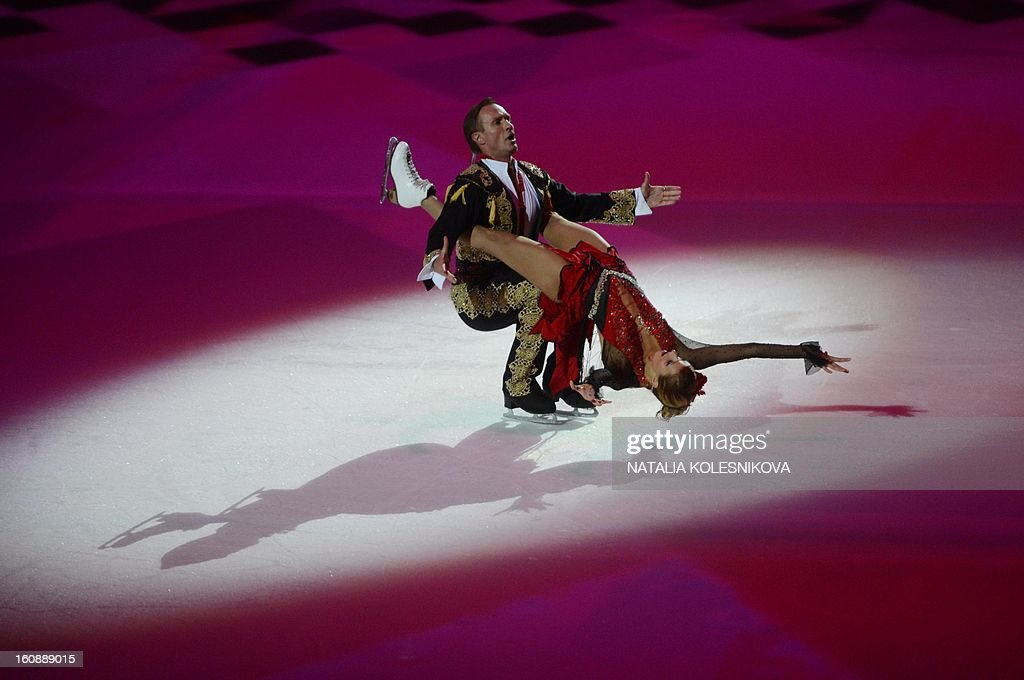 Russian ice dancer, World and Olympic champion, Tatiana Navka, performs with her partner at a ceremony celebrating the one year countdown to the Sochi 2014 Winter Olympics opening at the Bolshoi Ice Dome rink in the Black Sea city of Sochi, on February 7, 2013. Putin vowed today Russia would justify expectations when it hosts the Winter Olympic Games in Sochi in one year, after ruthlessly firing an official blamed for delays in building infrastructure.