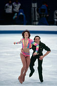 Russian ice dancers Irina Lobacheva and Ilia Averbukh perform their original dance program in White Ring during the 1998 Winter Olympics