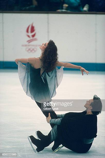 Russian ice dancers Marina Klimova and Sergei Ponomarenko compete at the 1992 Winter Olympics