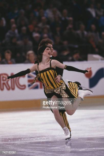 Russian ice dancers Marina Klimova and Sergei Ponomarenko pictured in action for the Soviet Union to finish in first place to win the gold medal in...