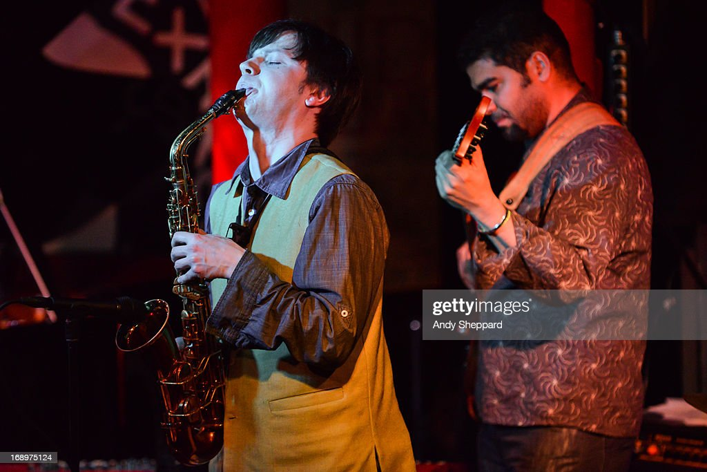 Russian Jazz saxophonist Zhenya Strigalev performs on stage at Pizza Express Jazz Club on May 17, 2013 in London, England.