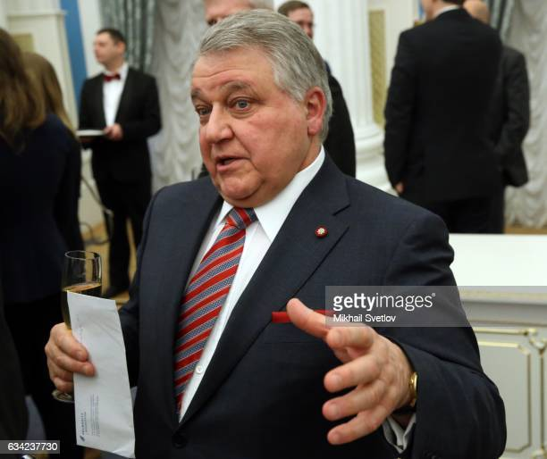 Russian Kurchatov Institute Head Mikhail Kovalchuk attends the awarding ceremony at the Kremlin on February 8 2017 in Moscow Russia Putin has awarded...