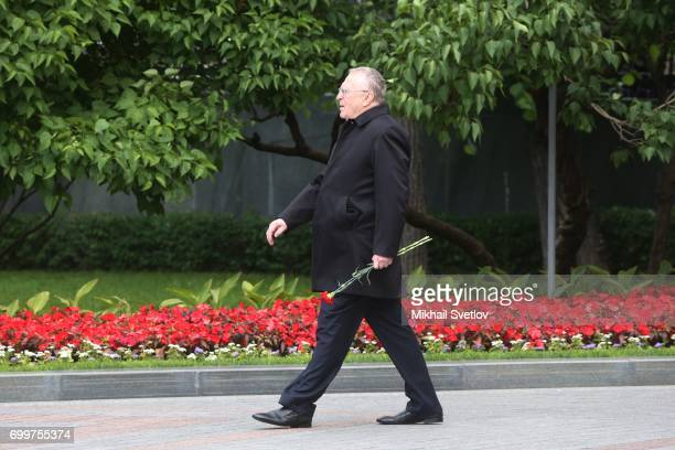 Russian LDPR Party Leader Vladimir Zhirinovsky arrives for the wreath laying ceremony at the Unknown Soldier's Tomb at Alexander Garden outside of...