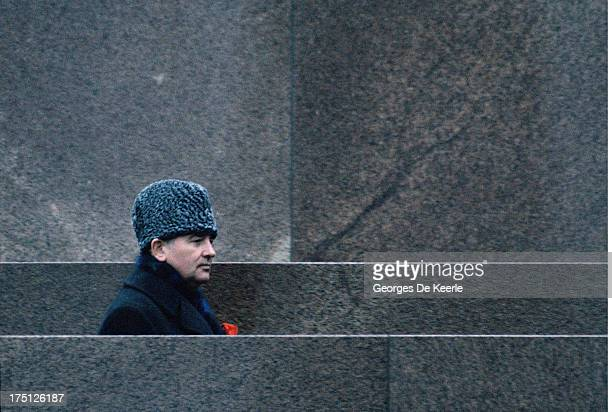 Russian leader Mikhail Gorbachev celebrates the Anniversary of the October Revolution on November 7 1984 in Moscow Soviet Union