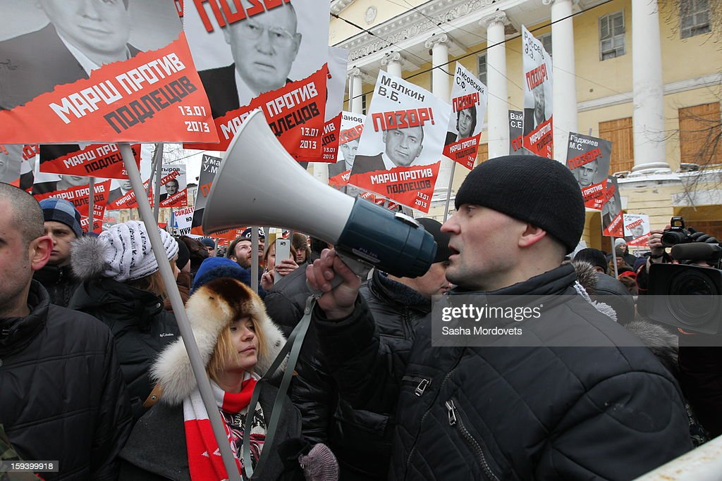 Russian Left Front leader Sergey Udaltsov attends an anti-Putin rally in central Moscow on January 13, 2012 in Moscow, Russia. Thousands of demonstrators gathered for a march to protest against a ban on Americans adopting Russian children.