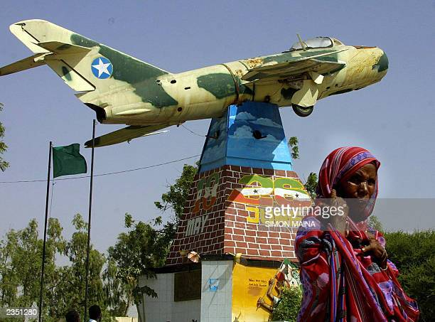A Russian made mig fighter jet that was used in 1989 seen hanging in Hargeisa as a monument of reminder to the people of Somaliland of atrocities...
