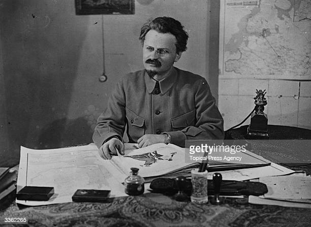 Russian Marxist theorist and revolutionary Leon Trotsky as commissar of war