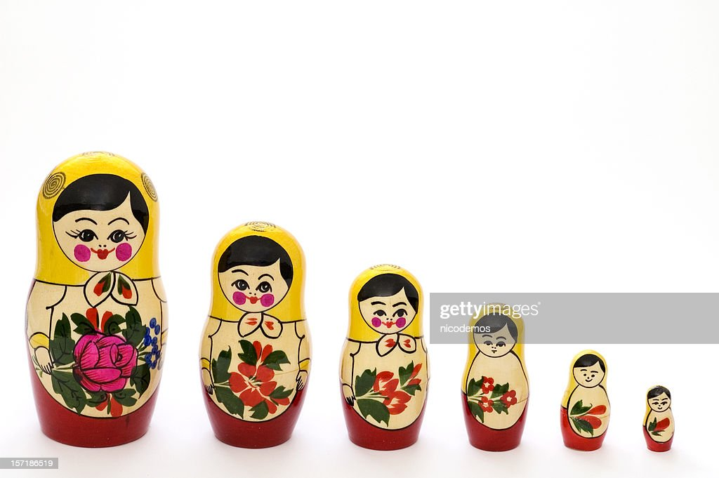 Attractive Russian Matryoshka Dolls In Different Sizes