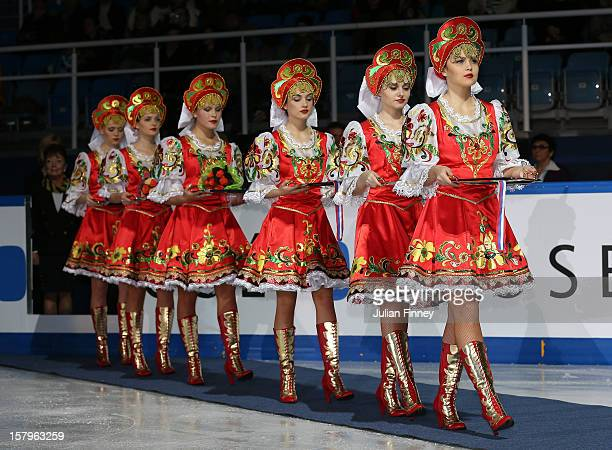 Russian medal holders enter the ice during the Grand Prix of Figure Skating Final 2012 at the Iceberg Skating Palace on December 8 2012 in Sochi...