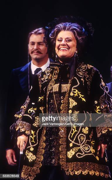 Russian mezzosoprano Elena Obraztsova takes a bow at the conclusion of the final dress rehearsal prior to the Metropolitan Opera premiere of the...