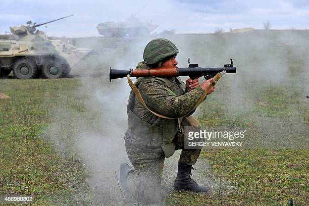 Russian military troops take part in a military drill on Sernovodsky polygon close to the Chechnya border some 260 km from south Russian city of...