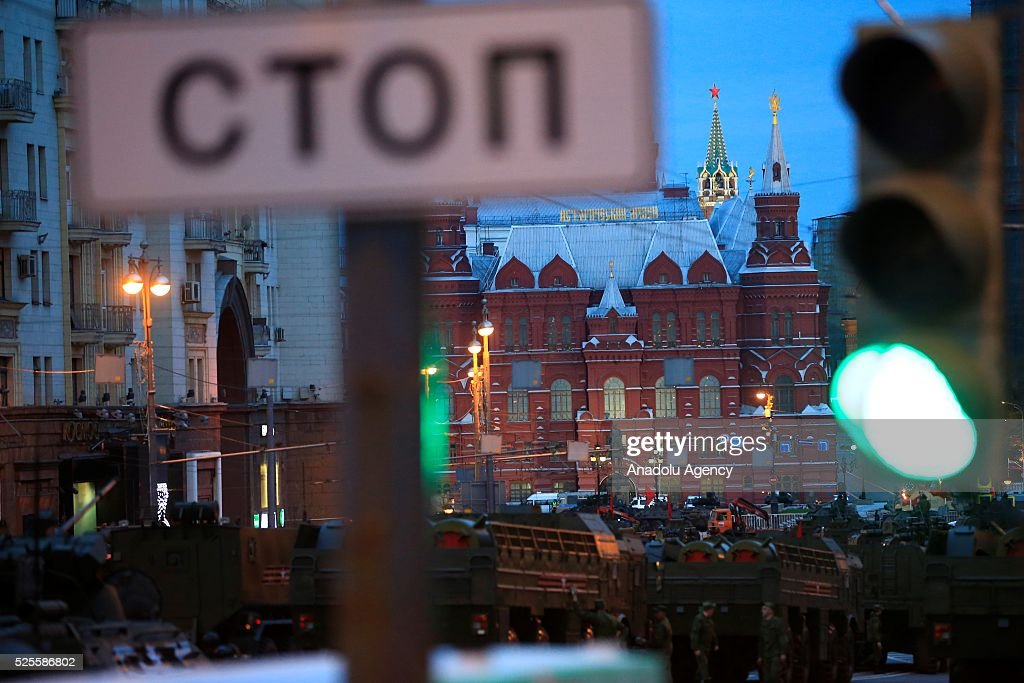 Russian military vehicles parade through the Red Square during the rehearsal of Russia's Victory Day (9 May) in Moscow, Russia on April 28, 2016.