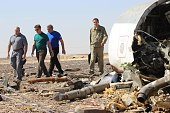 Russian Minister of Emergency Situations Vladimir Puchkov inspect the crash site of Russian Airliner in Suez Egypt on November 01 2015 A Russian...