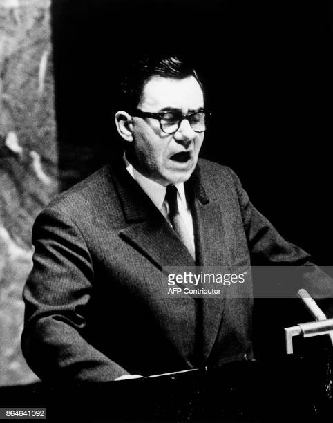 Russian Minister of Foreign Affairs Andrei Gromyko gives a speech during a session of the United Nations Security Council in December 1964 in NewYork...