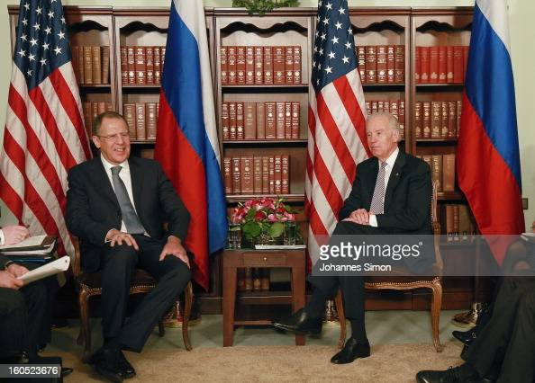 Russian minister of foreign affairs Sergey Lavrov and US vice president Joe Biden attend a bilateral meeting at Hotel Bayerischer Hof on February 2...