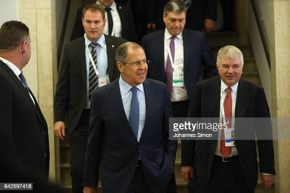 Russian minister of foreign affairs Sergey Lavrov arrives for a fourlateral meeting at the 2017 Munich Security Conference on February 18 2017 in...
