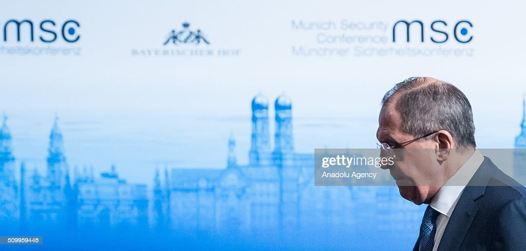 Russian Minister of Foreign Affairs Sergey Lavrov attends the 2016 Munich Security Conference at the Bayerischer Hof hotel on February 13, 2016 in Munich, Germany. The annual event brings together government representatives and security experts from across the globe and this year the conflict in Syria will be the main issue under discussion.