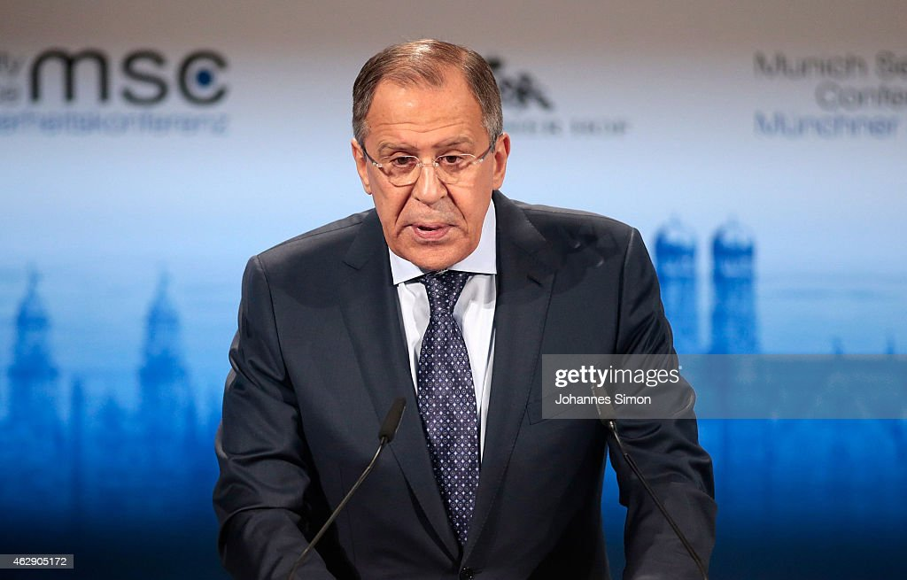 Russian minister of foreign affairs Sergey V. Lavrov delivers a keynote speech at the 51st Munich Security Conference (MSC) on February 7, 2015 in Munich, Germany. Foreign ministers and defense ministers from countries across the globe are meeting to discuss current global security issues, in particular the crisis in eastern Ukraine, the spread of ISIS in Syria and Iraq and the large-scale movement and plight of refugees.