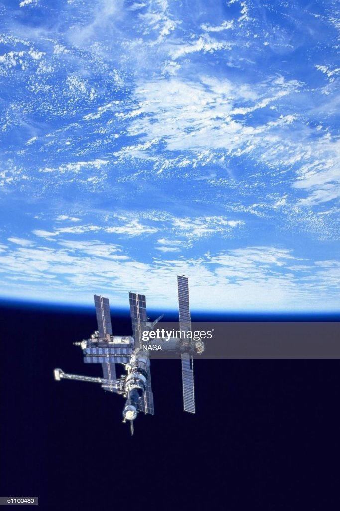 Russian Mir Space Station As Seen Alongside The Earth By The Us Space Shuttle