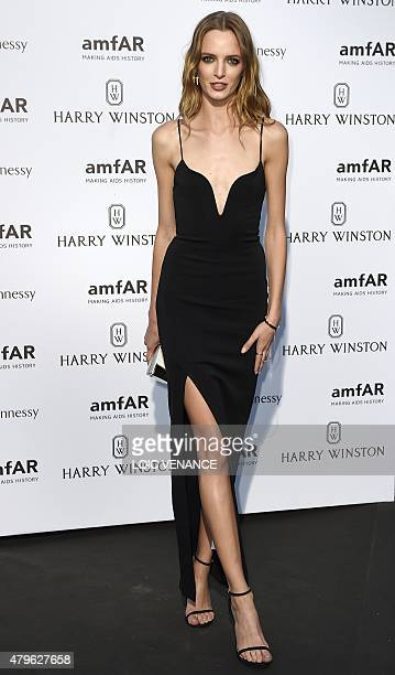 Russian model Daria Strokous poses as she arrives for the amfAR dinner on the sidelines of the Paris fashion week in Paris on July 5 2015 AFP PHOTO /...