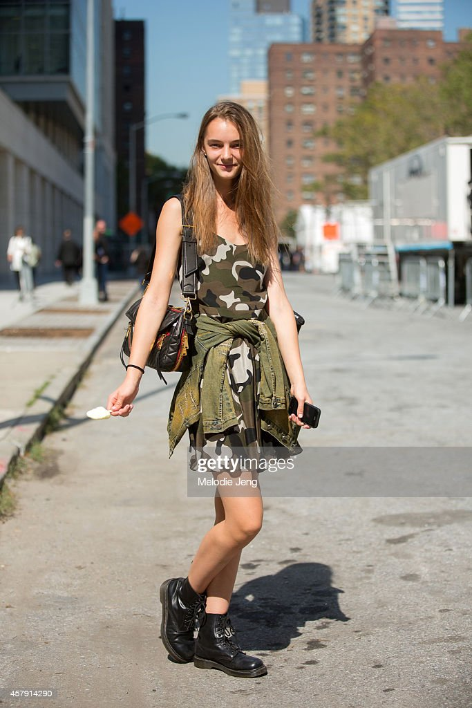 Russian model Irina Liss exits BCBG in a Yasya Minochkina dress, a jacket her mother made, an Miu Miu bag on Day 1 of New York Fashion Week Spring/Summer 2015 on September 4, 2014 at Lincoln Center in New York City.