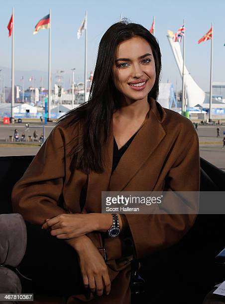 Russian model Irina Shayk poses on the NBC TODAY Show set in the Olympic Park during the Sochi 2014 Winter Olympics on February 8 2014 in Sochi Russia