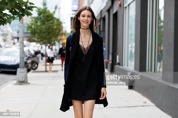 Russian model Irina Shnitman exits the Tibi show at The Waterfront Building on September 12 2015 in New York City Irina wears and all black outfit...