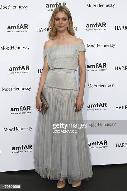 Russian model Natalia Vodianova poses prior to the Amfar dinner on the sidelines of the Paris fashion week on July 5 2015 in Paris AFP PHOTO / LOIC...