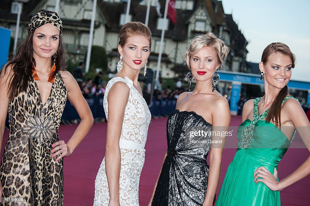 Russian Models arrive for the 'Killer Joe' Premiere during the 38th Deauville American Film Festival on September 2, 2012 in Deauville, France.