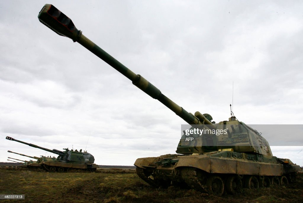 Russian MstaS selfpropelled howitzers take part in military exercises in the southern Russia's Volgograd region on April 2 2014 Russian troops...