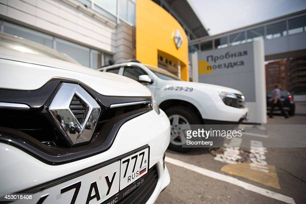 A Russian national flag sits on the license plate of a customer test vehicle outside the Mosrentservis auto dealership for Renault SA in Moscow...