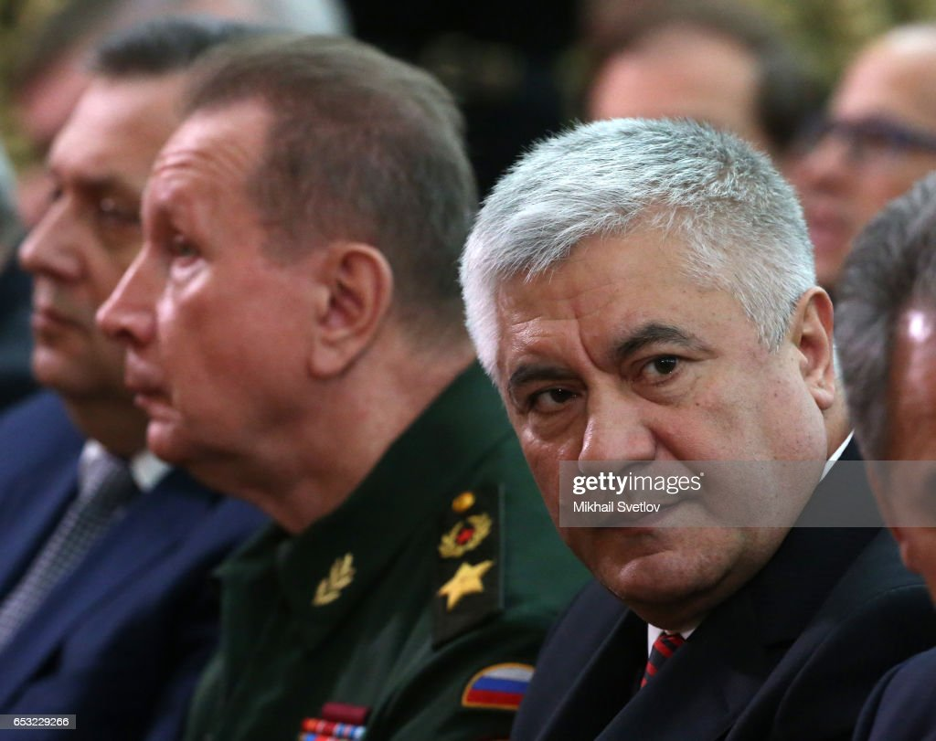Russian National Guard Chief Viktor Zolotov (C) and Interior Minister Vladimir Kolokoltsev (R) iattend the Prosecutor General's Annual Board on March 14, 2017 in Moscow, Russia.