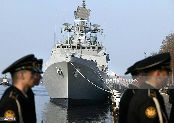 Russian Navy sailors pass the Tabar frigate during handing over ceremony in the Navy base of Baltiysk 19 April 2004 Tabar frigate the third ship...